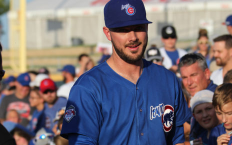 Kris Bryant playing for the Iowa Cubs.