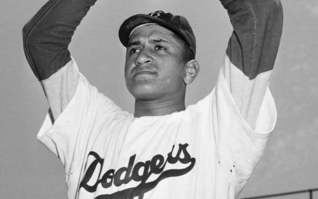 Don Newcombe in a Brooklyn Dodgers uniform.