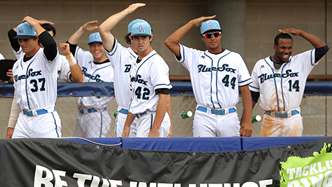 Sydney Blue Sox players having fun during a game.