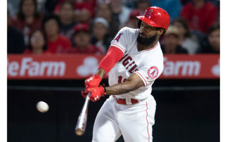 Brian Goodwin at-bat for the Los Angeles Angels.