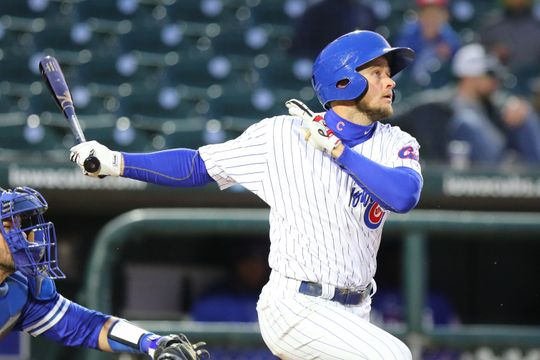 Donnie Dewees at-bat for the Iowa Cubs.