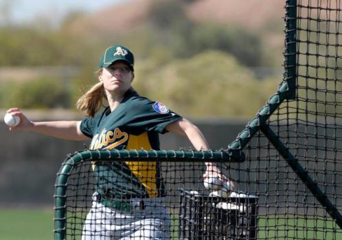 Justine Siegal throws BP for the Oakland Athletics.