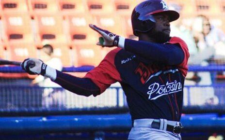 Félix Pié batting for Bravos de León.