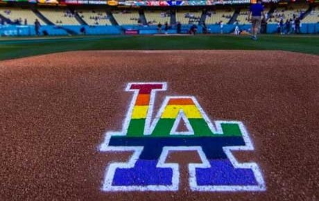 Los Angeles Dodgers decorate their mound for Pride Day.