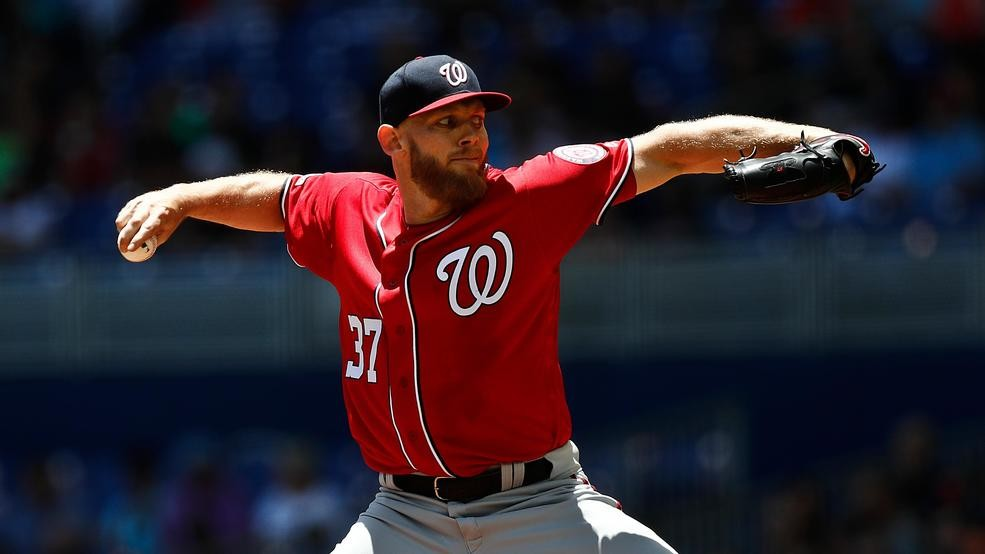 Stephen Strasburg on the mound for the Washington Nationals.