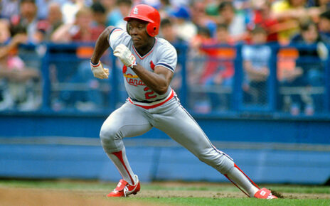 Vince Coleman stealing a base for the St. Louis Cardinals.