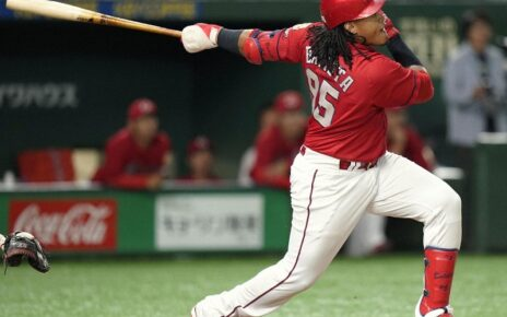 Xavier Batista at-bat for the Hiroshima Toyo Carp.