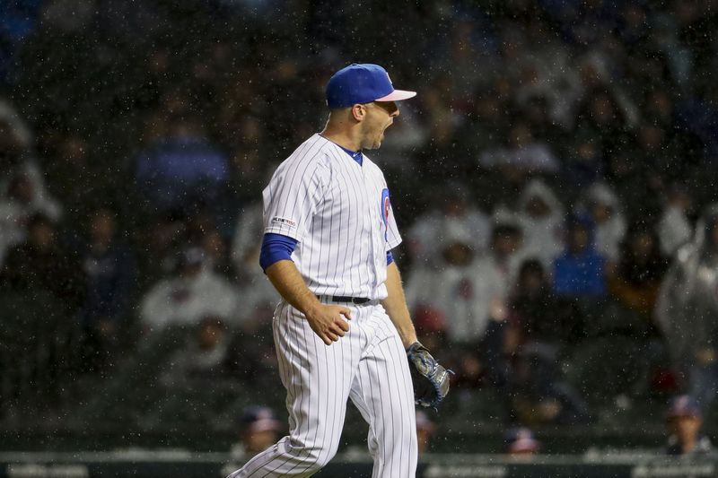 Brandon Kintzler celebrates a big strikeout at Wrigley Field.