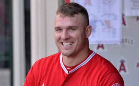 Mike Trout smiling.