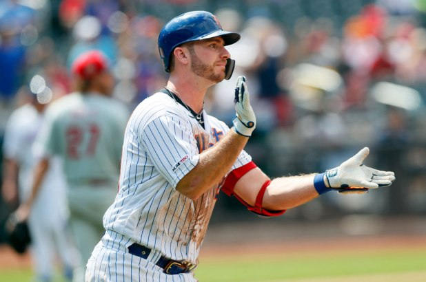 Pete Alonso celebrating a home run with the New York Mets.