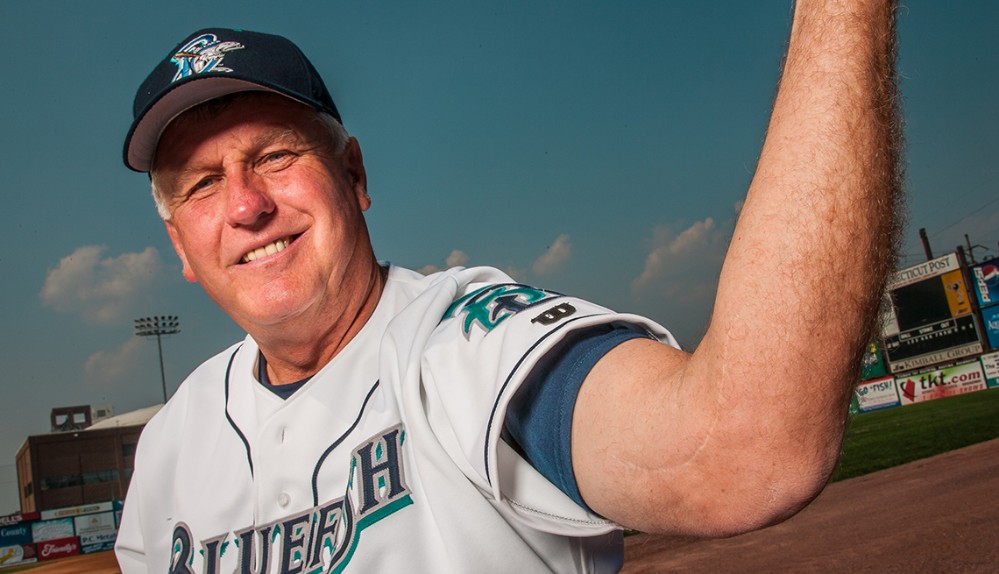 Tommy John as manager of the Bridgeport Bluefish.