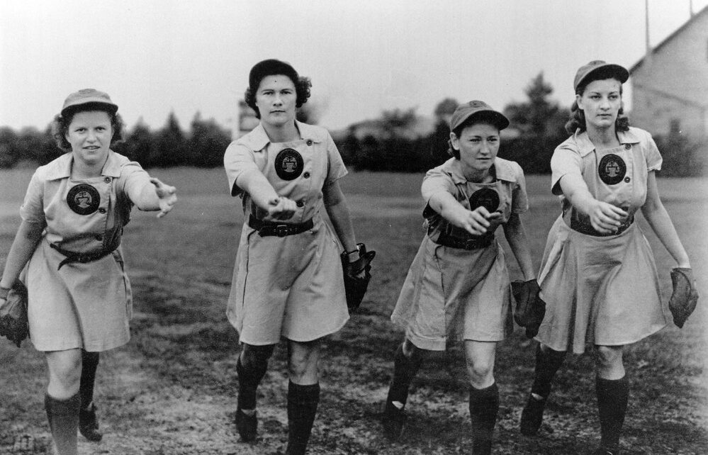 A group of women pose for an All-American Girl's Professional Baseball League picture.
