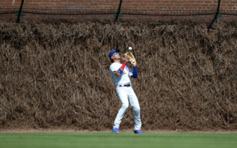 Albert Almora Jr. makes a catch in the Wrigley Field outfield.