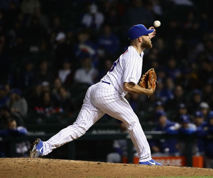 Kyle Ryan on the mound at Wrigley Field.