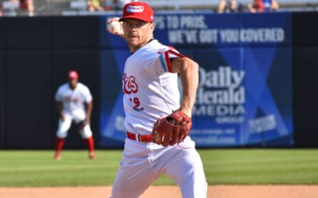 Luke Wilkins pitching for the Chicago Dogs against the Cleburne Railroaders 07-28-2019