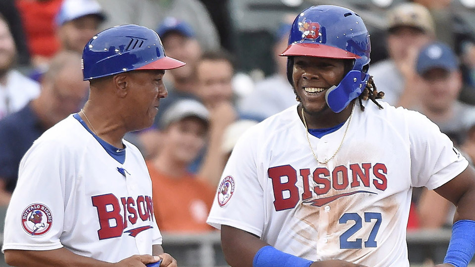 Vladimir Guerrero Jr. flashing a smile while with the Buffalo Bisons.