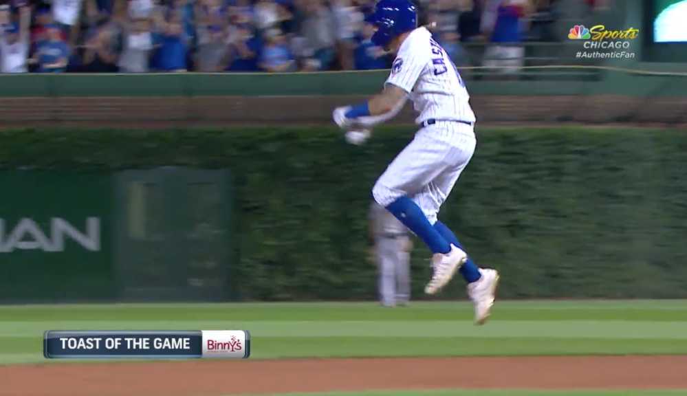 Nicholas Castellano celebrating Kris Bryant's game winning home run on 08-21-2019.