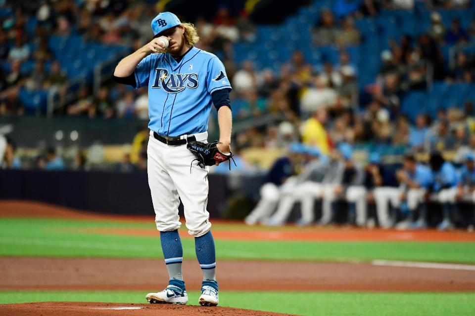 A Tampa Bay Rays pitcher deep in thought.