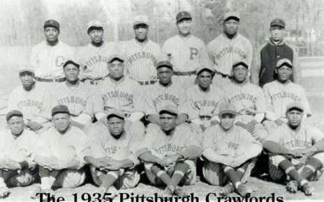 The 1935 Pittsburgh Crawfords pose for a team picture.