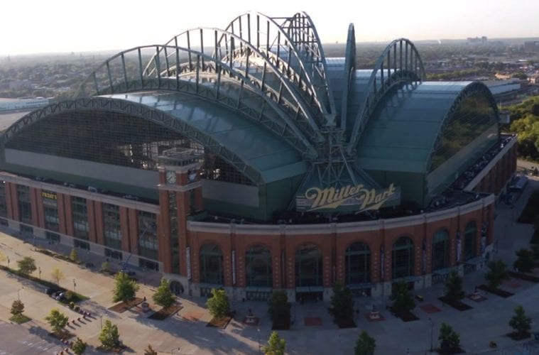 Exterior view of Miller Park in Milwaukee, WI.
