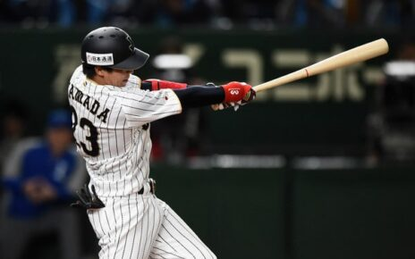 Tetsuto Yamada at bat for Samurai Japan.