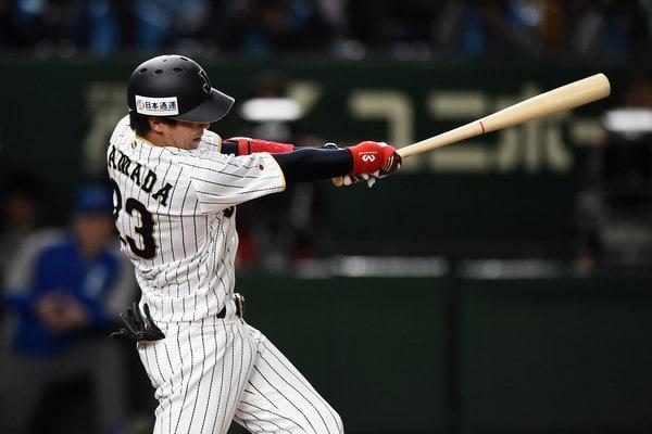 Tetsuto Yamada at bat for Samurai Japan.