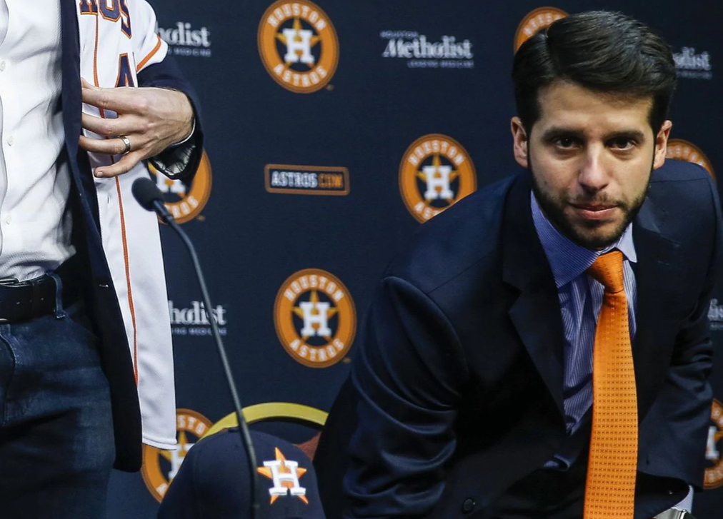 Brandon Taubman at the press conference introducing Gerrit Cole as a member of the Houston Astros.