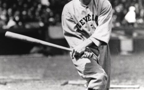 Jack Graney swings a bat for Cleveland.