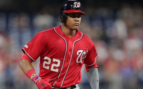 Juan Soto rounding the bases.