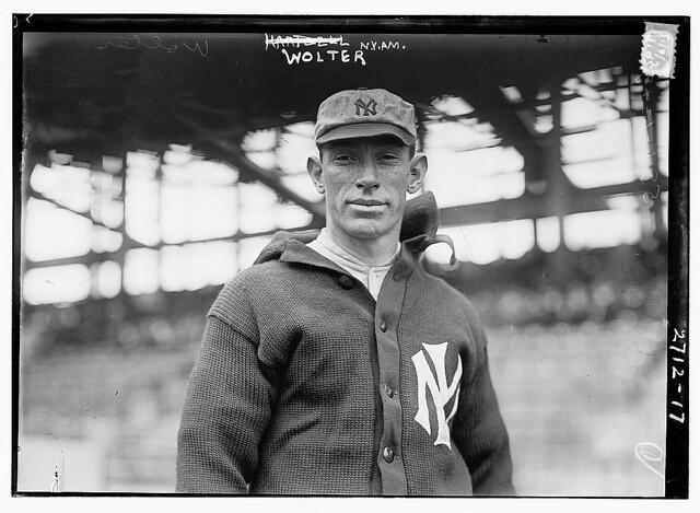 Harry Wolter poses for a picture with the New York Yankees.