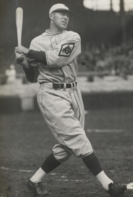 Lefty O'Doul swings a bat while playing with the Philadelphia Phillies.