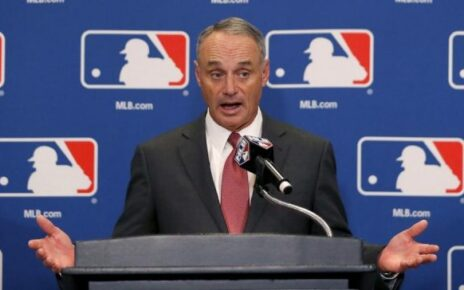 Rob Manfred telling reporters how much he hates baseball.