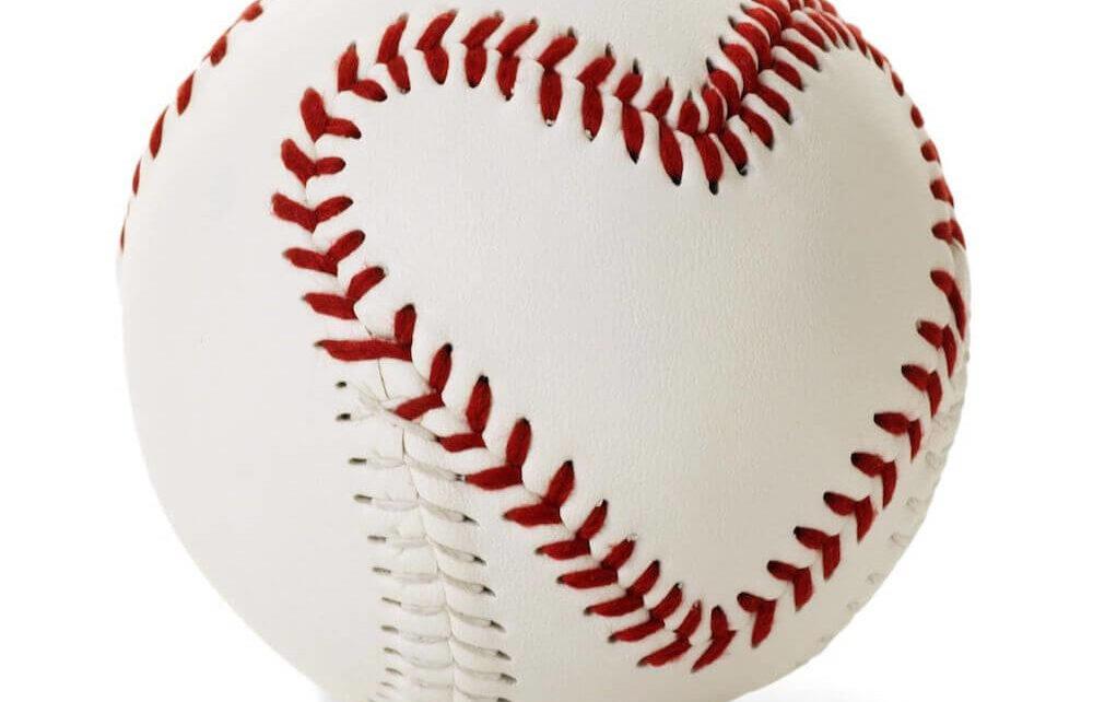 A baseball with heart seams
