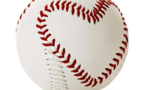 A baseball with heart seams
