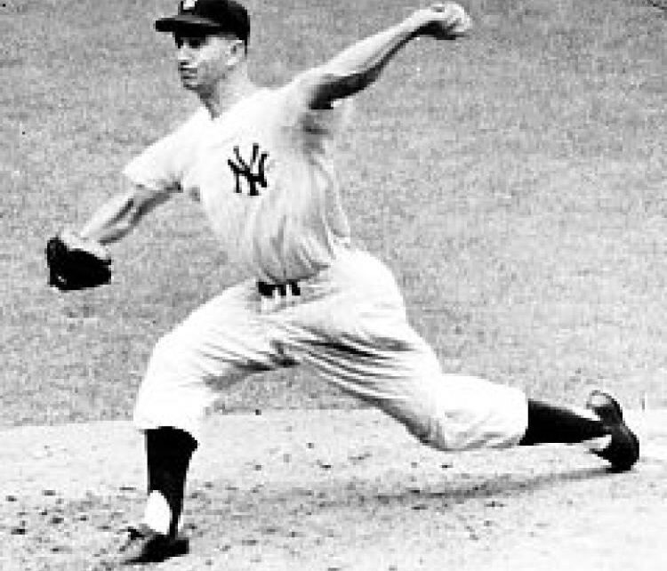 Tommy Byrne on the mound for the New York Yankees