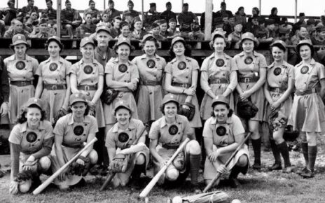 The Rockford Peaches pose for a team photo