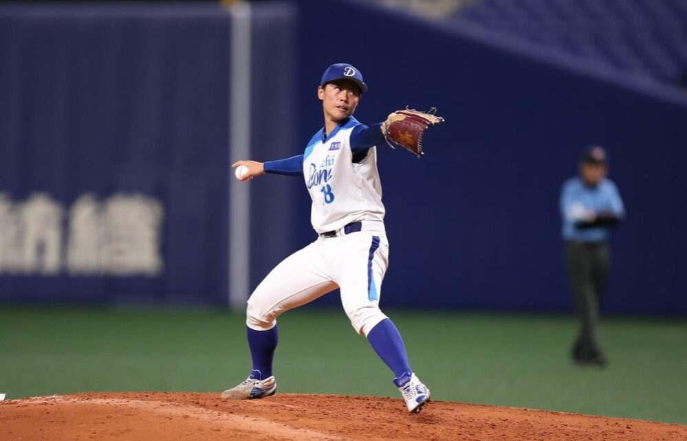 Ayami Sato on the mound for Aichi Done