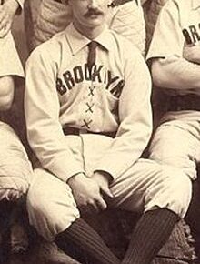 Bob Caruthers taking a team photo with the Brooklyn Bridegrooms