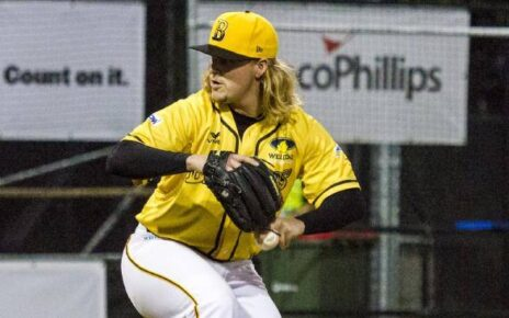 Rick Teasley and his glowing locks on the hill for the Brisbane Bandits