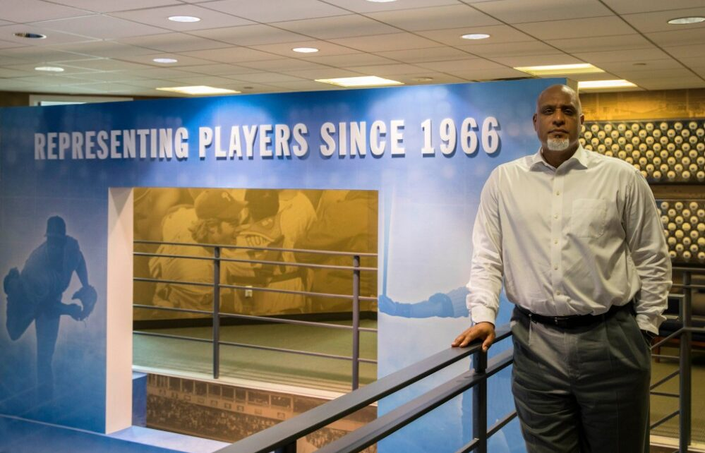Tony Clark poses for a photo at the MLBPA offices