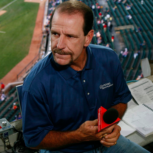 Bob Brenly in the booth for the Chicago Cubs