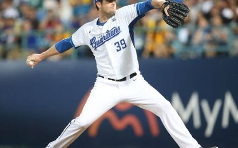 Mike Loree on the mound for the Fubon Guardians