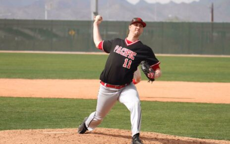 Spencer Backstrom pitching for Pacific University