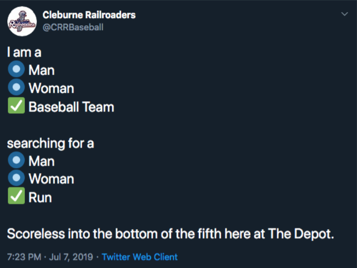 A Cleburne Railroaders tweet