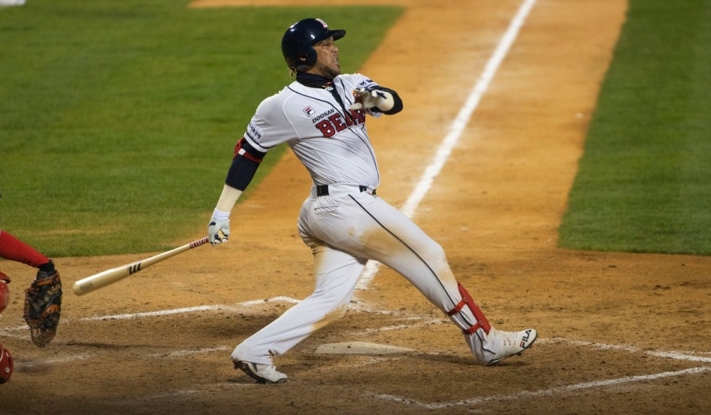 José Miguel Fernández during 2019 action with the Doosan Bears