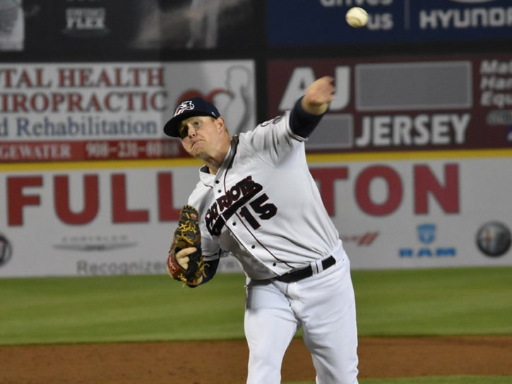 Logan Darnell on the mound for the Somerset Patriots