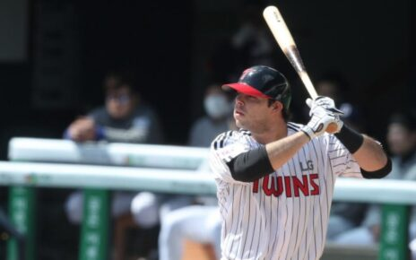 Roberto Ramos about to crush a dinger for the LG Twins