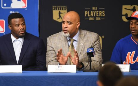Tony Clark at a press conference about expanding baseball in minority communities