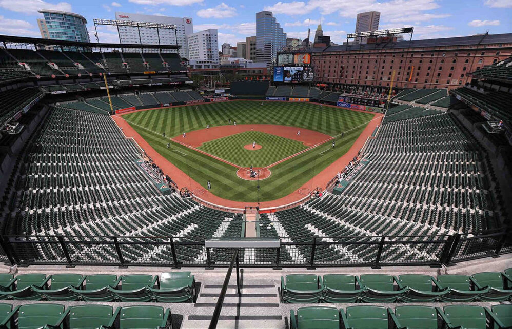 The Baltimore Orioles and Chicago White Soz square off in an empty Camden Yards in 2015.