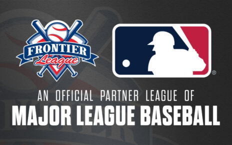 Logo announcing the Frontier League becoming an MLB Partner League